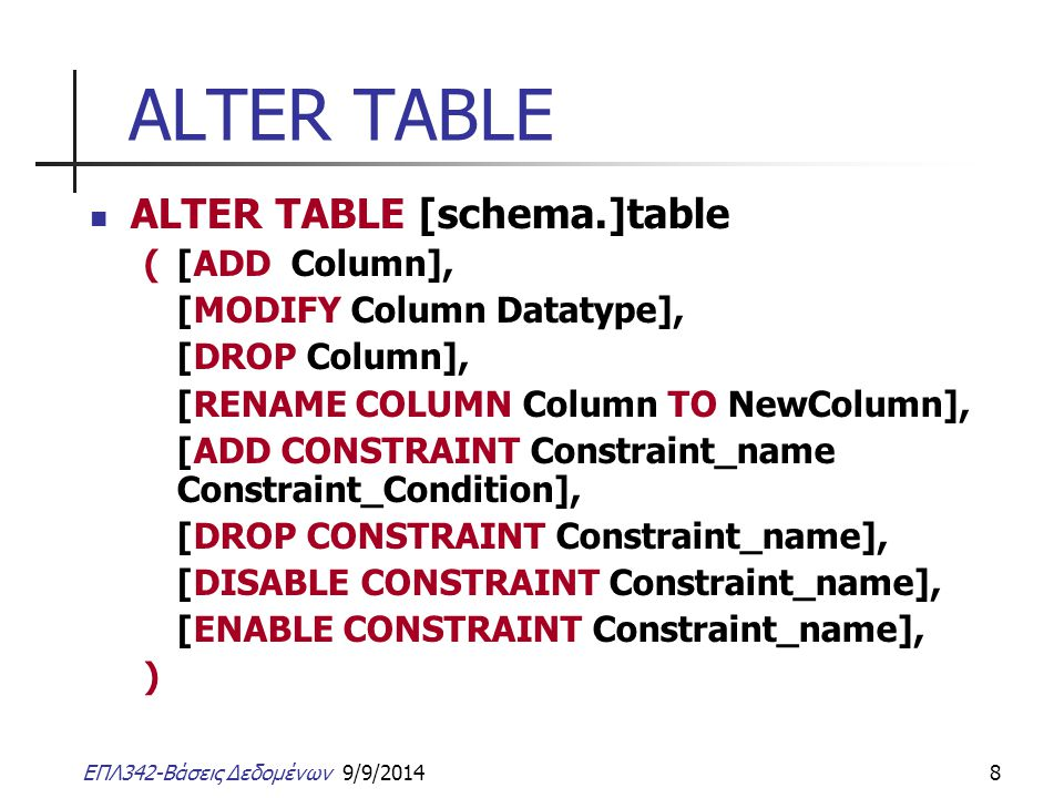 ALTER TABLE ALTER TABLE [schema.]table ( [ADD Column],